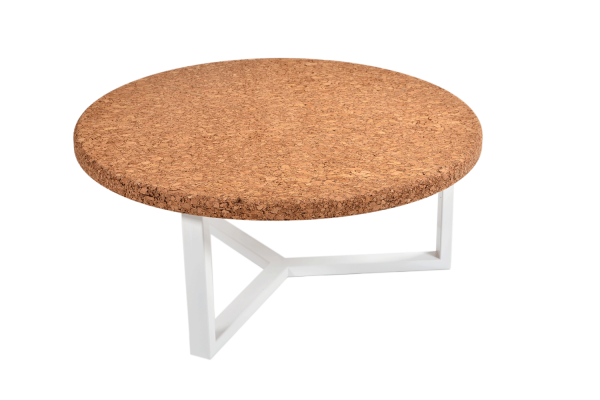 Round-Coffee-Table-Amber-Cork-White-Metal