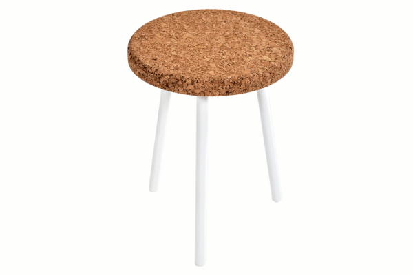 Round-End-Table-Amber-Cork-White-Metal-1
