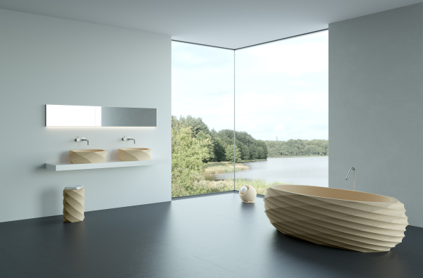 modern washbasins in a bathroom setting