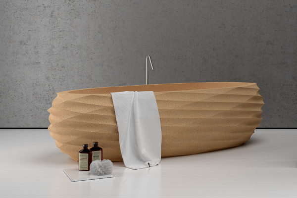 freestanding bathtub natural cork 1