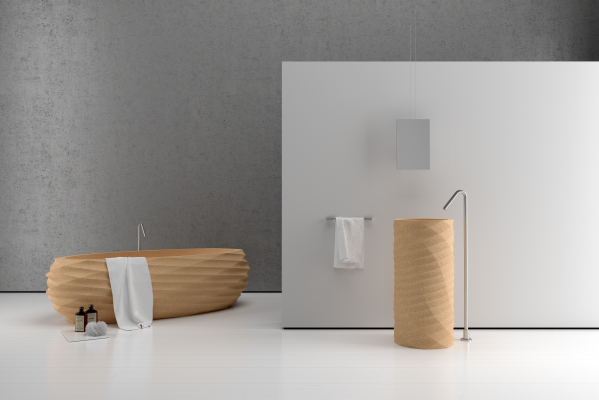The eco-friendly character of our modern freestanding washbasin